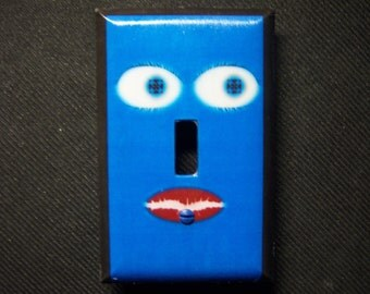 Light Switch Cover Blue Face with Geometrical Eyes Single Toggle Print