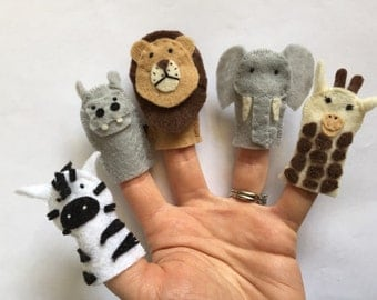 Safari Animals Felt Finger Puppets (Hippo, Lion, Giraffe, Zebra, Elephant), Set of 5 - FREE SHIPPING
