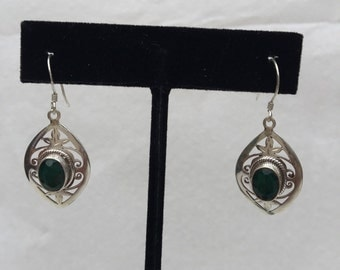 Dangle silver earring with gemstones