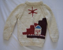 Vintage 1970's - Childrens sweater (unisex) Wool with house and sun, Mock turtleneck, handmade