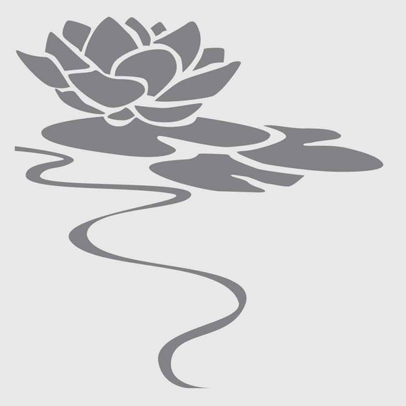 Water Lily Stencil Black And White: Water Lily On 6x6 Laser Cut Stencil By PearlDesignStudio