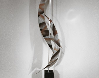 "Modern Abstract Metal Art Decor Sculpture - Black and Copper ""Aero"" by Dustin Miller"