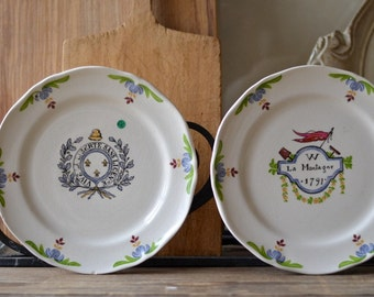 vintage French Saint Amand plates set of two