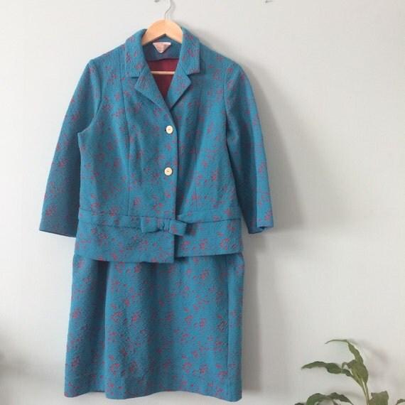 Vintage Wedding Dresses Richmond Va: 60s VINTAGE Teal Blue & Hot Pink CRIMPLENE Mod Suit By