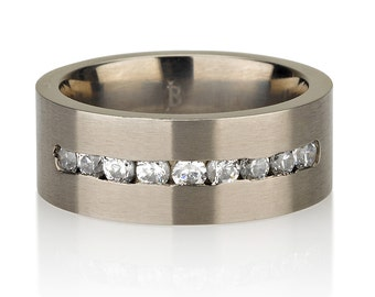 Cubic Zirconia wedding band. Brushed Satin Simple, modern wedding ring. Titanium diamond ring.
