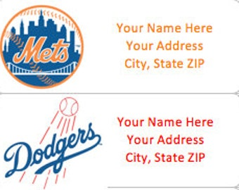 MLB PERSONALIZED BASEBALL Address Labels - Customize with Any Team!