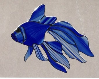 Stained Glass Blue Fish Suncatcher
