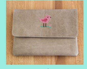 Leather clutch,clutch with embroidery,leather clutch,embroidery purse,embroidery clutch,colorful purse,leather bag,leather purse,gray clutch