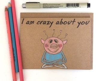Funny anniversary card girlfriend/ Boyfriend birthday card/ i love you card/ funny birthday card girlfriend/ pig anniversary card/ love card