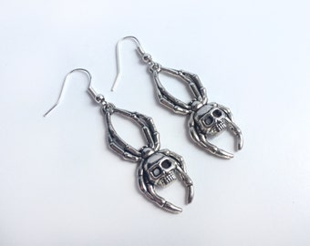 Gothic Spider Dangle Earrings (Pair) With Skulls On Silver Plated Hooks - Goth Earrings, Gothic Earrings, Goth Jewellery, Gothic Jewellery