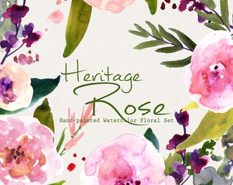 Watercolour Floral Clipart: Pastel Roses, Watercolour Clip Art/Rose/Individual PNG files/Hand Painted-Heritage Rose
