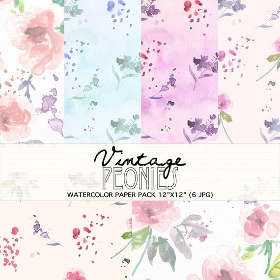 Watercolour Floral Clipart: Pink Peonies, Watercolour Clip Art/Flowers/Individual PNG files/Hand Painted-Vintage Peonies Paper Pack