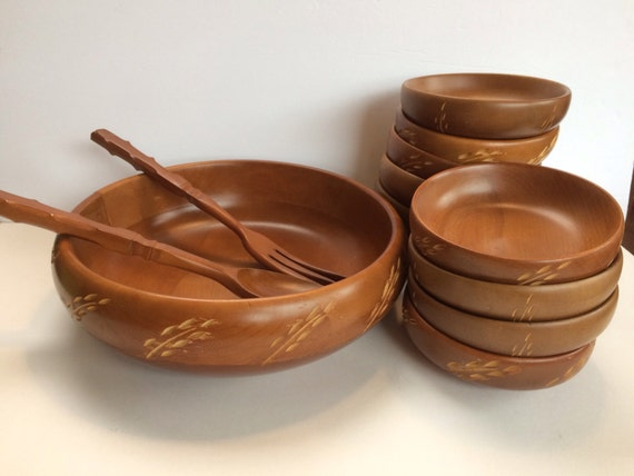 Wooden Bar Bowls ~ Iconic mid century baribocraft salad bowl and ten small