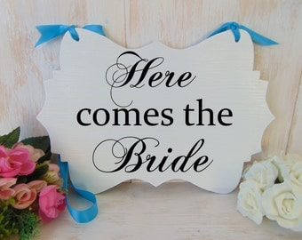 Here comes the bride wood wedding sign. Wedding ceremony board. Ring bearer, flower girl sign