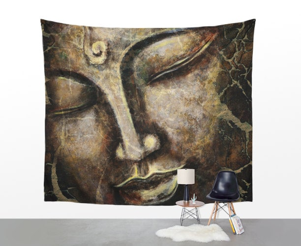 Buddha Tapestry Wall Hangings wall tapestry buddha face painting wall hanging zen home