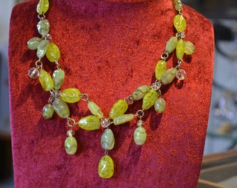 Necklace vintage yellow glass 1950 s necklace -.