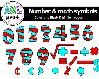 Striped numbers and math symbols clipart