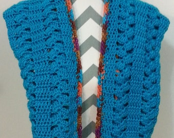 Long Hooded Scarf Hot Turquoise
