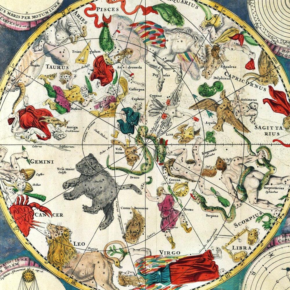 de wit s planisphaeri coeleste astronomy art print vintage