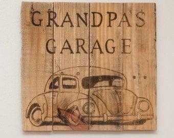 Garage art Garage sign Garage decor Grandpas garage Grandpa's garage Grandpa birthday Gift for dad Dad birthday New grandpa Man cave stuff