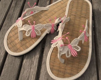 Ladies Straw Flip Flops Hand Decorated with embroidered butterfly trim