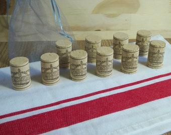 Set of 10 new Cork Stoppers decorated with a Royal Crown delivered in a nice grey organza pouch | Made in France