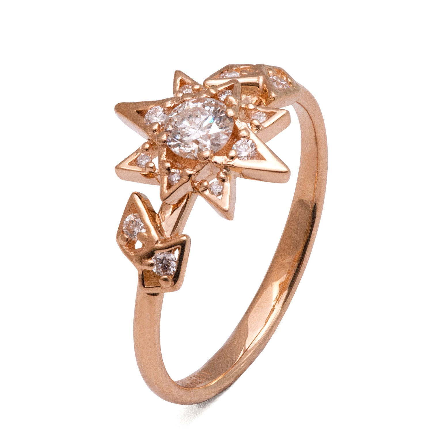 moissanite art deco star engagement ring 14k rose gold and. Black Bedroom Furniture Sets. Home Design Ideas