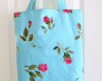 shopper tote bag, cotton shopping bag, market bag, fully lined cotton carry all, turquoise with pink rose print cotton fabric