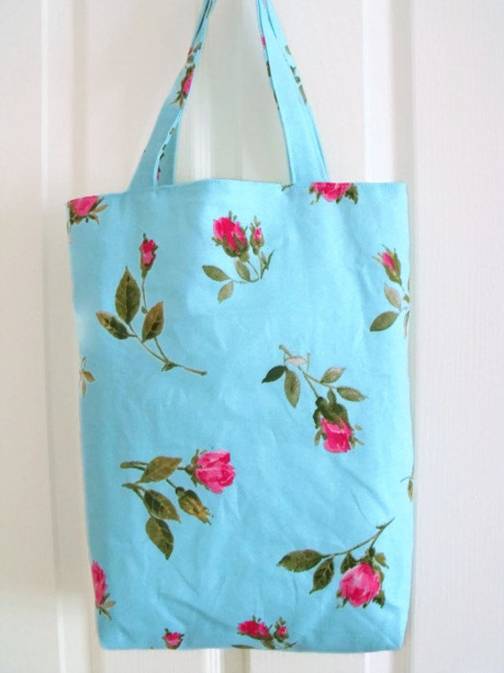 shopper tote bag,  cotton shopping bag for everyday use, fully lined cotton carry all, turquoise with pink rose print cotton fabric