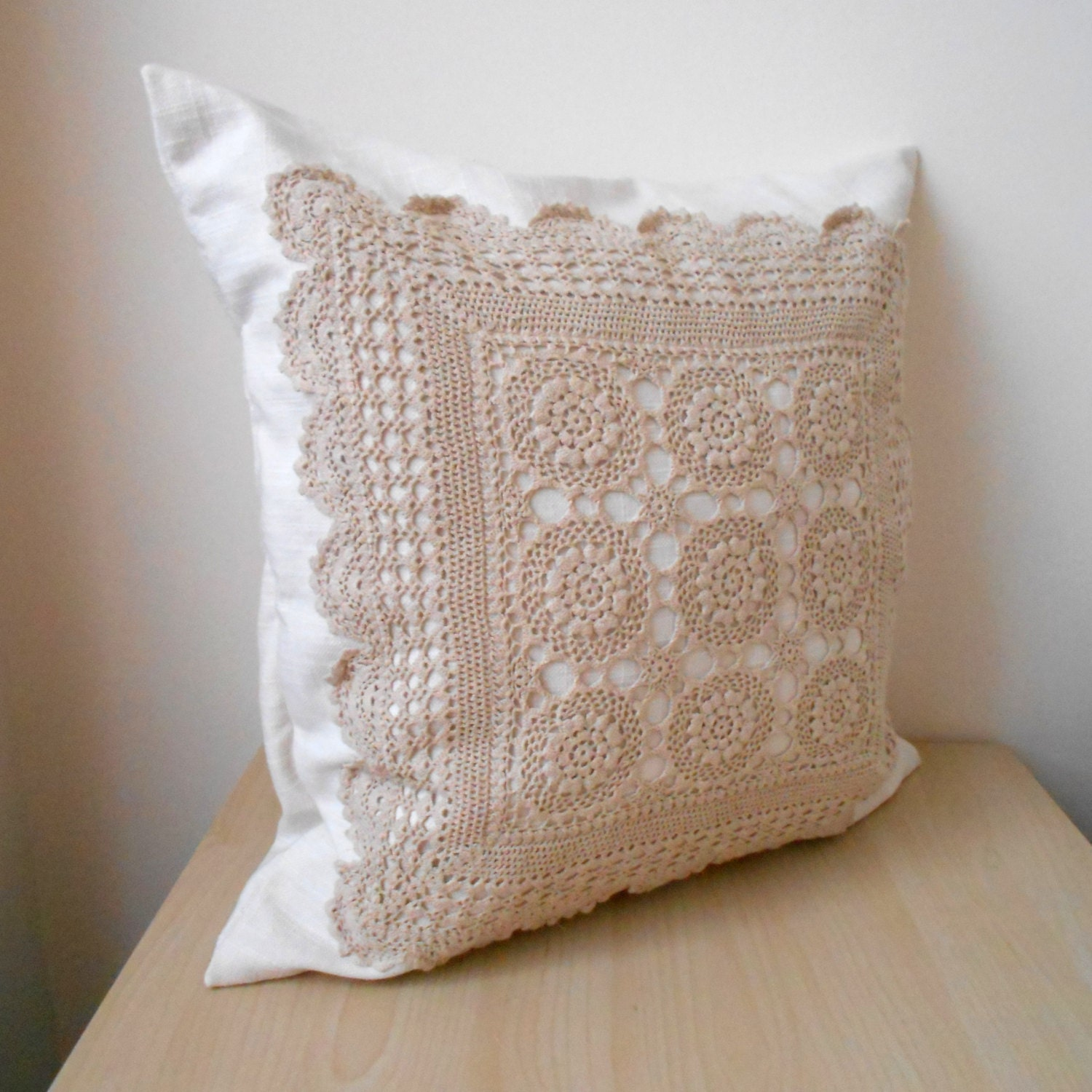 Throw Pillows With Lace : Large lace pillow cover beige lace throw pillow crochet lace