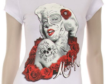 Zombie Marilyn Monroe with Roses Print Shirt