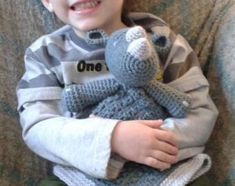 crochet rhino lovey blanket