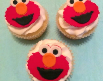 Elmo Fondant Cupcake Toppers