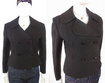 60s Twiggy British Invasion mod peplum double breasted tailored coat jacket