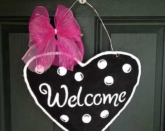 Burlap Heart Door Hanger -