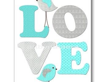 Love Art Instant Download ART Digital Download Print Baby Boy Nursery Art Print Kid Room Decor Childrens Art Print 8X10 11X14 Torquoise Gray