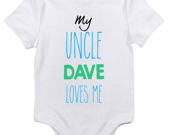 Gift from uncle etsy personalized my uncle loves me baby clothes infant bodysuit jumper customizable baby shower gift negle Images