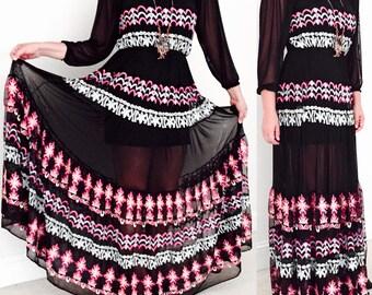 Bohemian Maxi Long Dress / Boho Romantic Ling Dress / Party weeding Long Dress / Festival Hippie Maxi Dress / Black and Floral Maci Dress