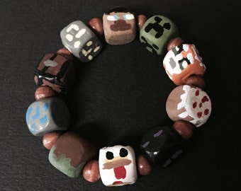 Hand painted Minecraft inspired bracelet.  (With Stampy bead)