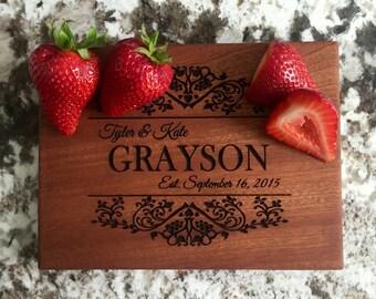Personalized Cutting Board 6x8 Mahogany - Grayson Style