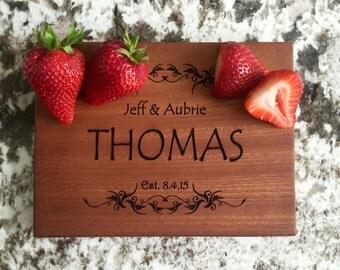 Personalized Cutting Board 6x8 Mahogany - Thomas Style