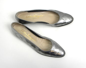 90s Size 8 Salvatore Ferragamo | Silver Leather Flats | Made in Italy