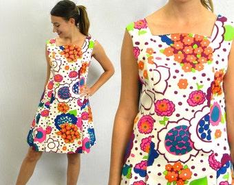 Vintage 60s Colorful Mod Romper | Floral Scooter Dress, Large