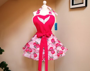 Retro apron ,full apron ,hostess apron ,vintage inspired apron