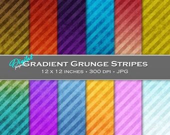 Grunge Ombre / Gradient Colored Stripes - Digital Scrapbook Papers - 12 sheets, 12x12, CU OK - Instant Download
