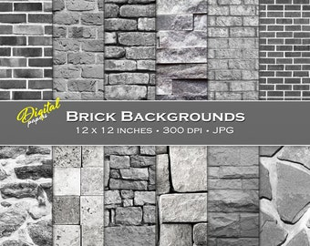 Gray Brick Backgrounds - Digital Scrapbook Papers - 12 sheets, 12x12, CU OK - Instant Download