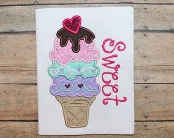 5x7 Sweet Ice cream cone 5x7 embroidery design 5X7 OTT, summer, birthday, ice cream, sweet