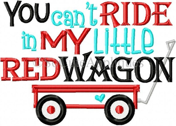 Embroidery Design 6x10 Little Red Wagon By SoCuteAppliques