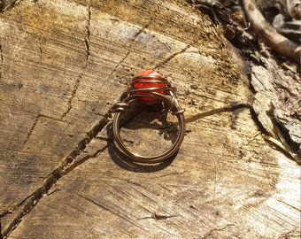 Red Agate Wire-Wrapped Ring