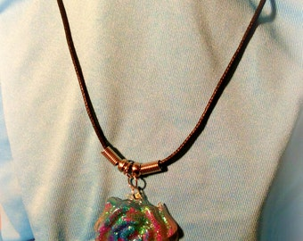 Shimmering Rainbow Rose Pendant Necklace